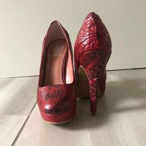 Vince Camuto Red Snake High Heels